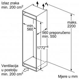 BOSCH Ugradbeni kombinirani hladnjak KIN86VS30